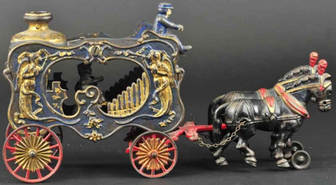 hubley spielzeug gusseisen koenigliche zirkuskutsche orgel zwei schwarze pferde