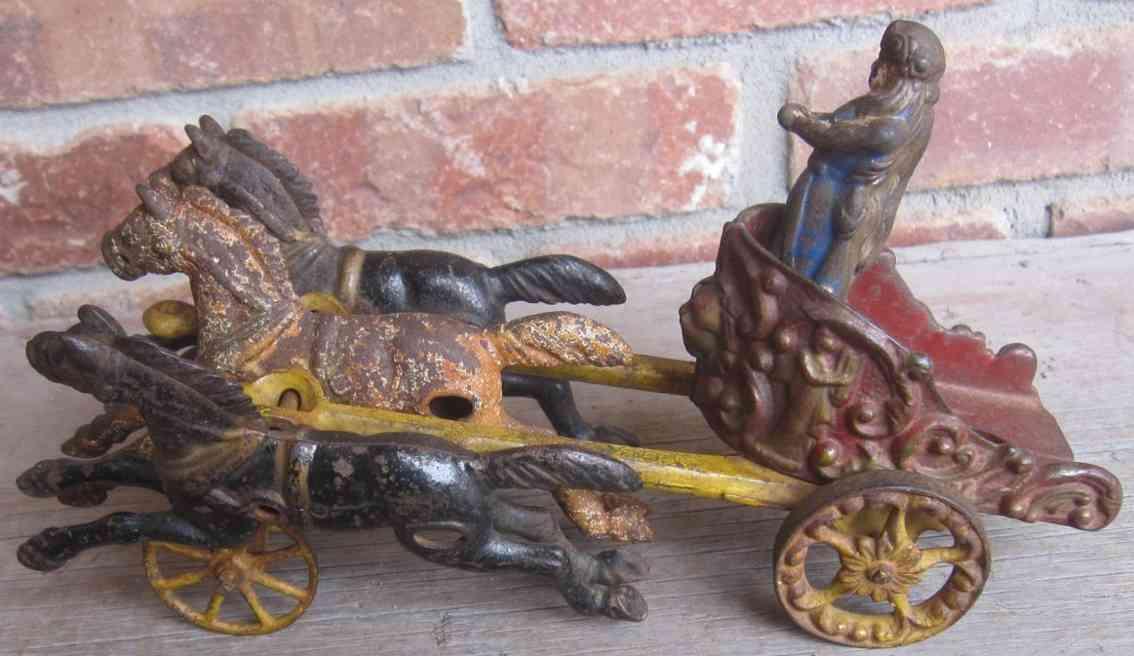 hubley cast iron toy chariot three horses