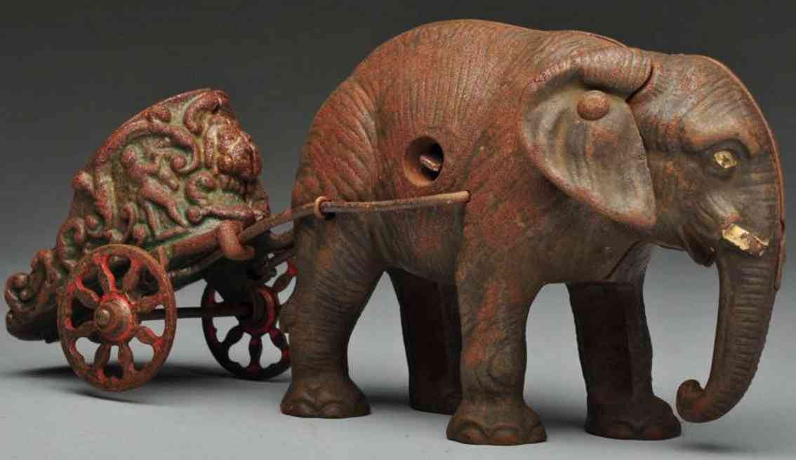 hubley cast iron chariot elephant-drawn toy