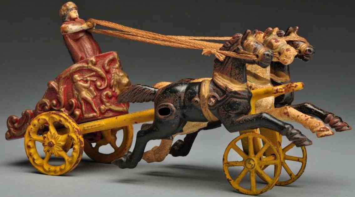 hubley cast iron chariot gladiator three horse-drawn toy