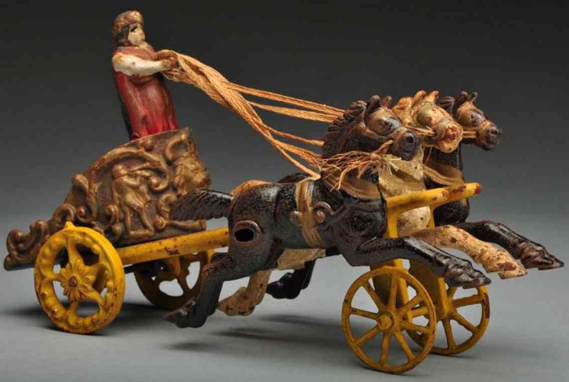 hubley cast iron gladiator chariot three horse-drawn toy
