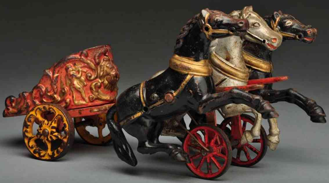 hubley cast iron royal circus 3-horse chariot toy