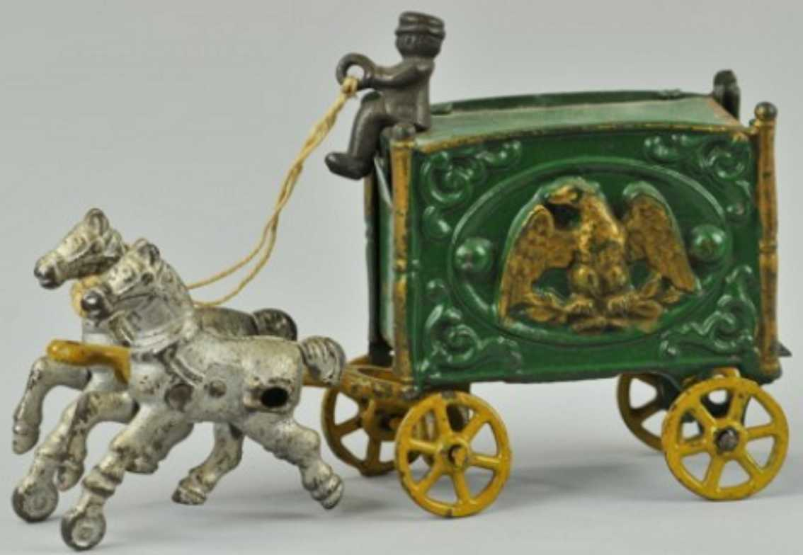 hubley cast iron toy eagle circus wagon green