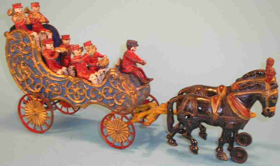hubley cast iron toy royal circus band wagon two horses