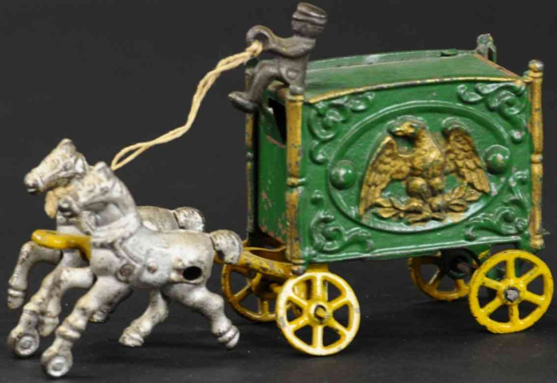 hubley cast iron toy eagle circus wagon green two horses