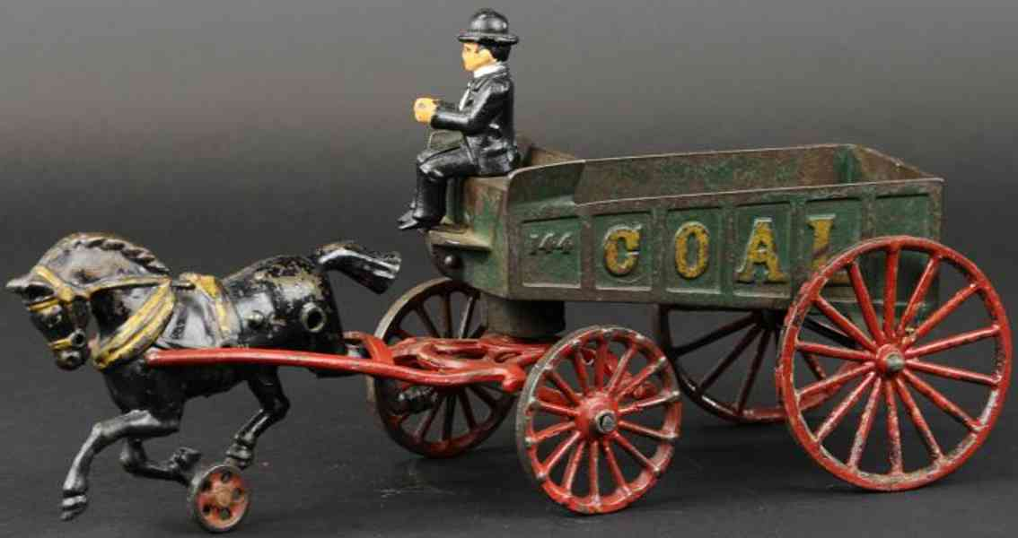 hubley cast iron toy coal wagon green one black horse