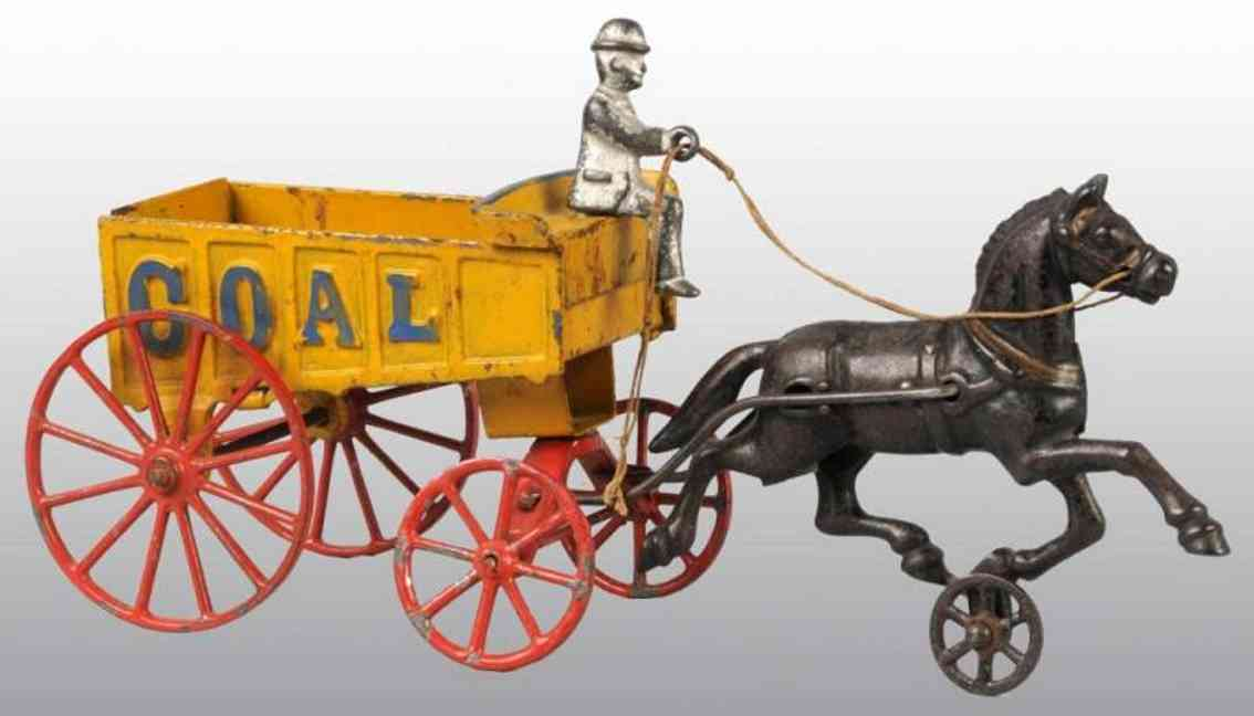 hubley cast iron toy coal wagon yellow one horse