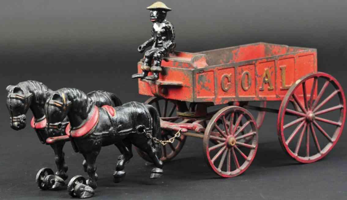 hubley spielzeug gusseisen kohlenwagen rot zwei schwarze pferde