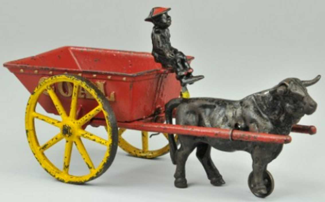 hubley cast iron toy coal wagon ox