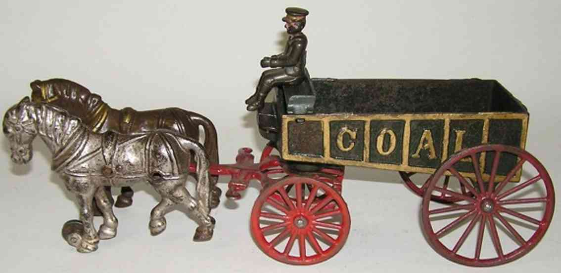 hubley cast iron toy coal wagon driver two horses