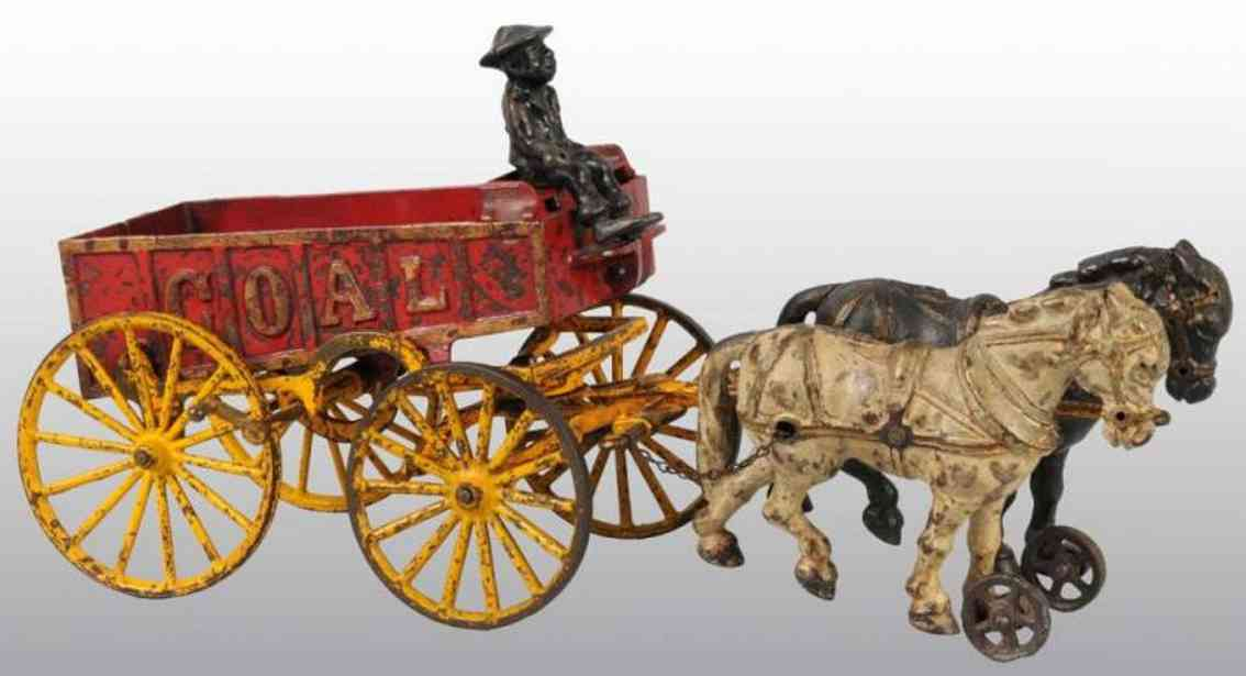 hubley 2 horses cast iron toy coal wagon red