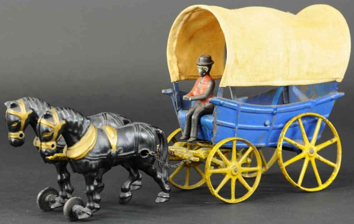 hubley cast iron toy conestoga wagon two horses
