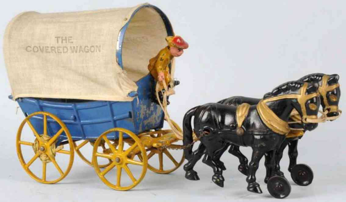 hubley cast iron tin toy horse-drawn covered wagon