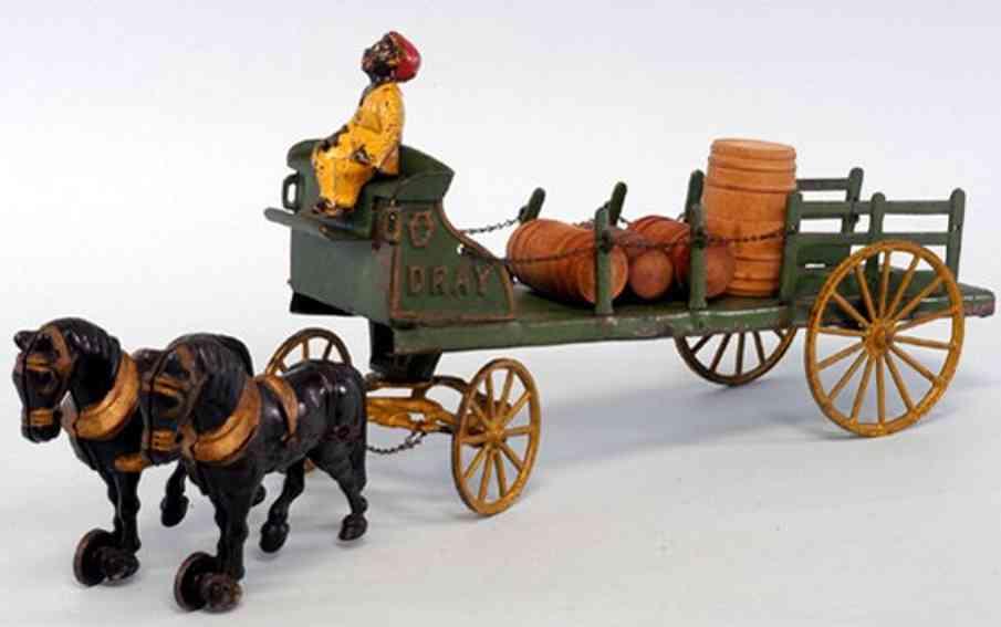 hubley two horses cast iron toy dray wagon green