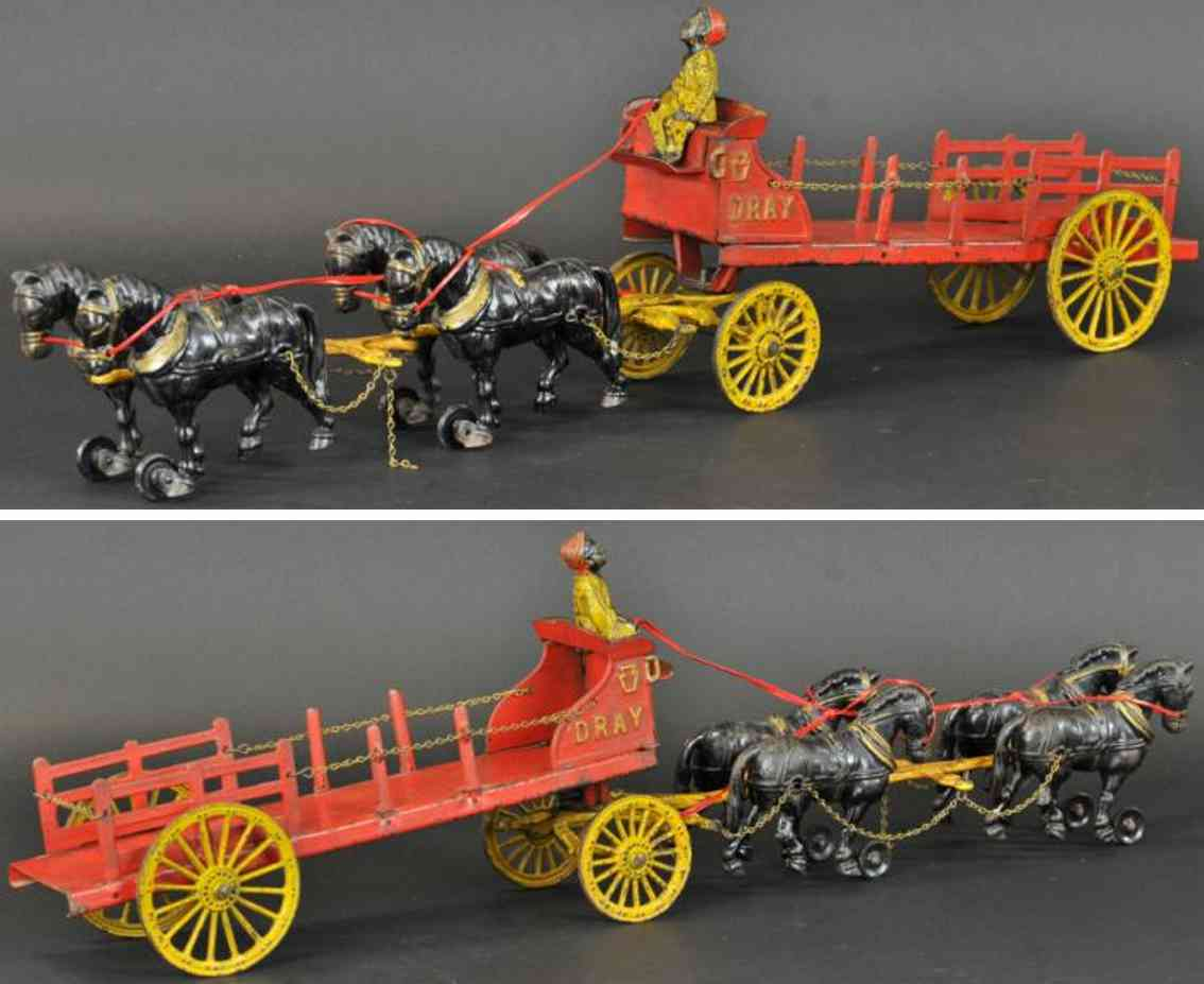 hubley cast iron toy four horses dray wagon driver red