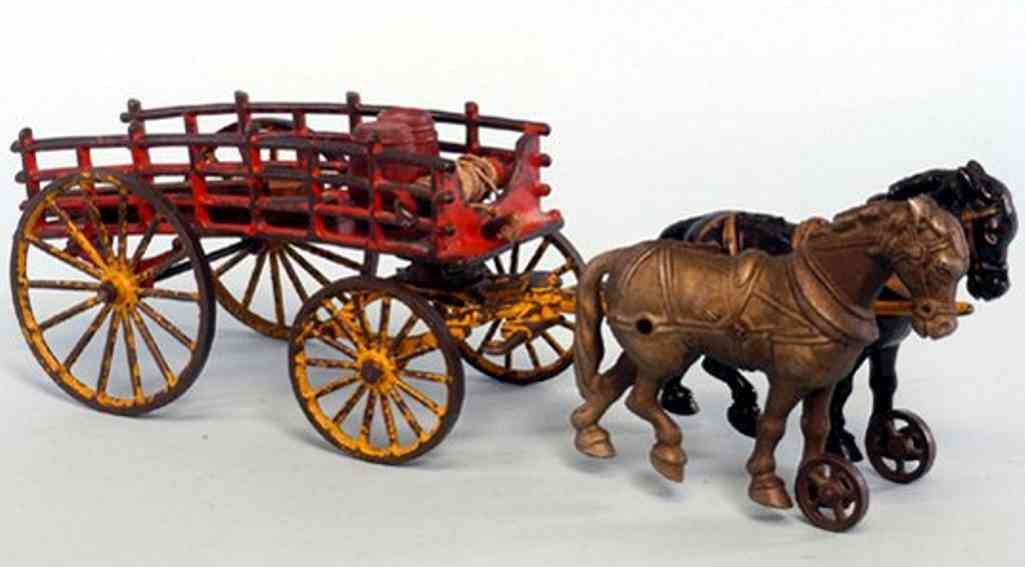 hubley cast iron toy dray wagon two horses