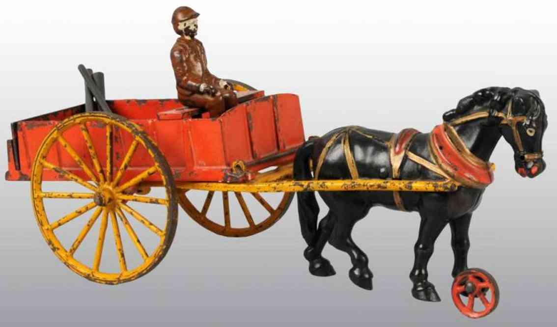 Hubley Dump car with figure and one black horse