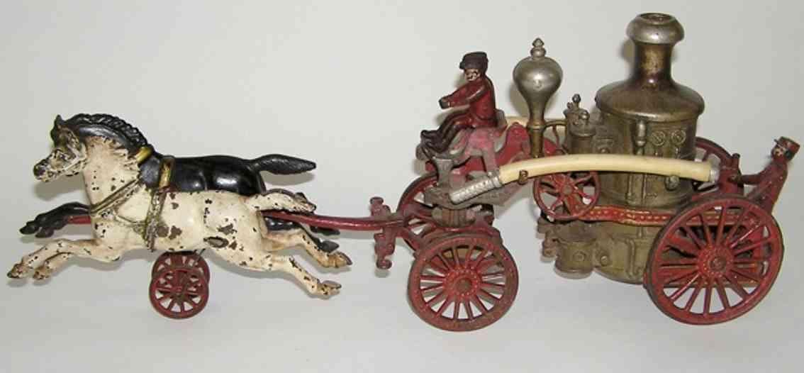 hubley 10 spielzeug gusseisen feuerpumpenwagen zwei pferde