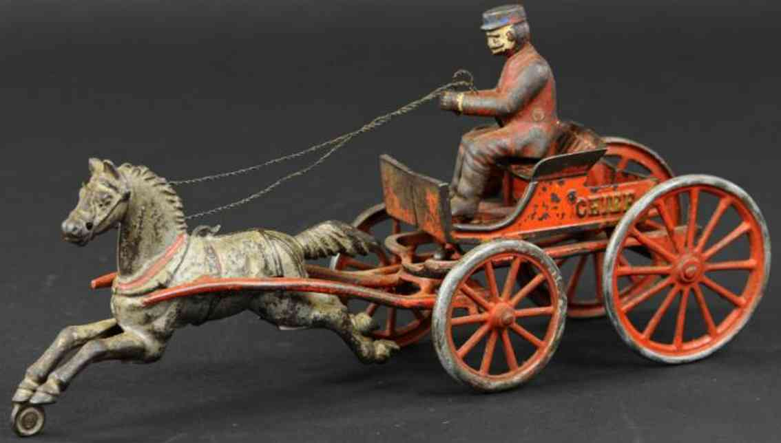 hubley cast iron toy horse drawn fire chief cart