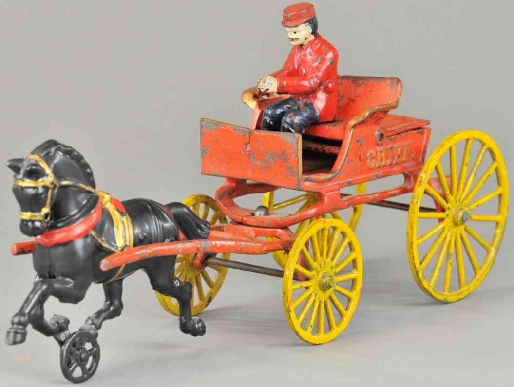 hubley cast iron toy fire chief wagon red