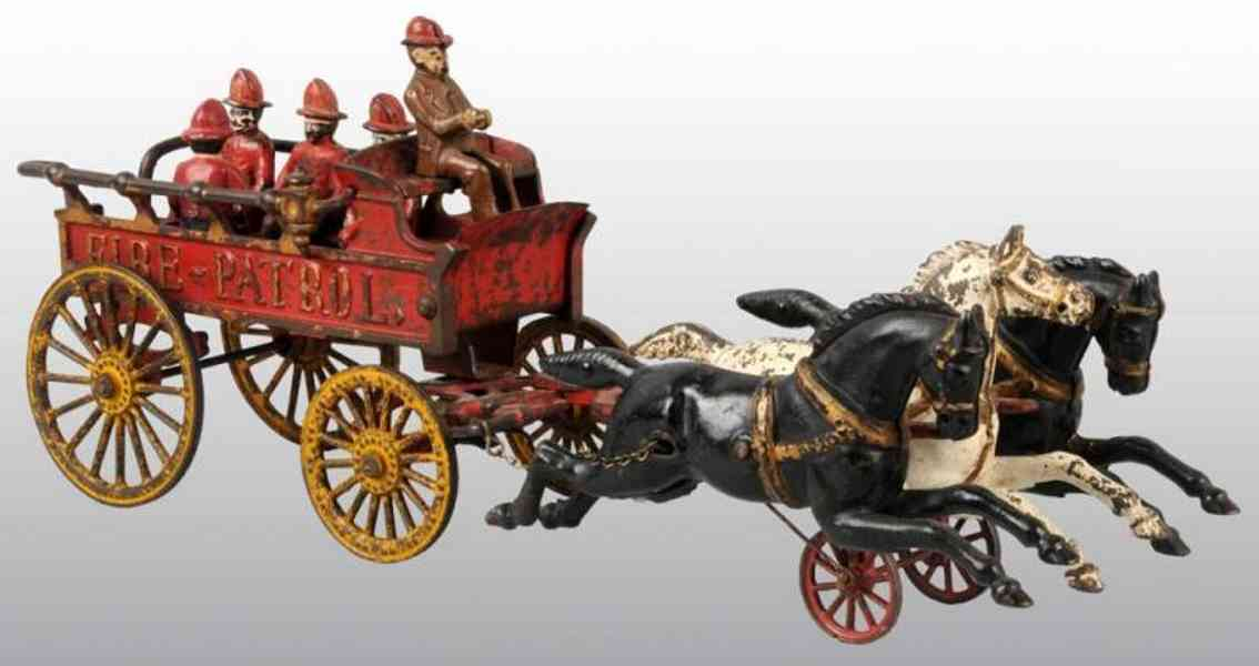 hubley cast iron toy fire patrol three horses five figures