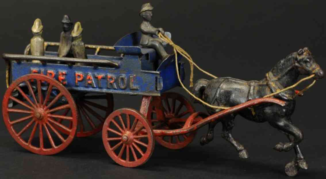 hubley cast iron toy fire patrol wagon one horse