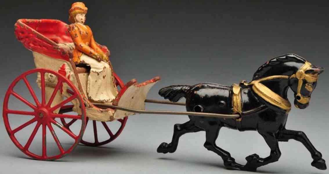 Hubley Kutsche mit Frauenfigu und schwarzem Pferd aus Gusseisen