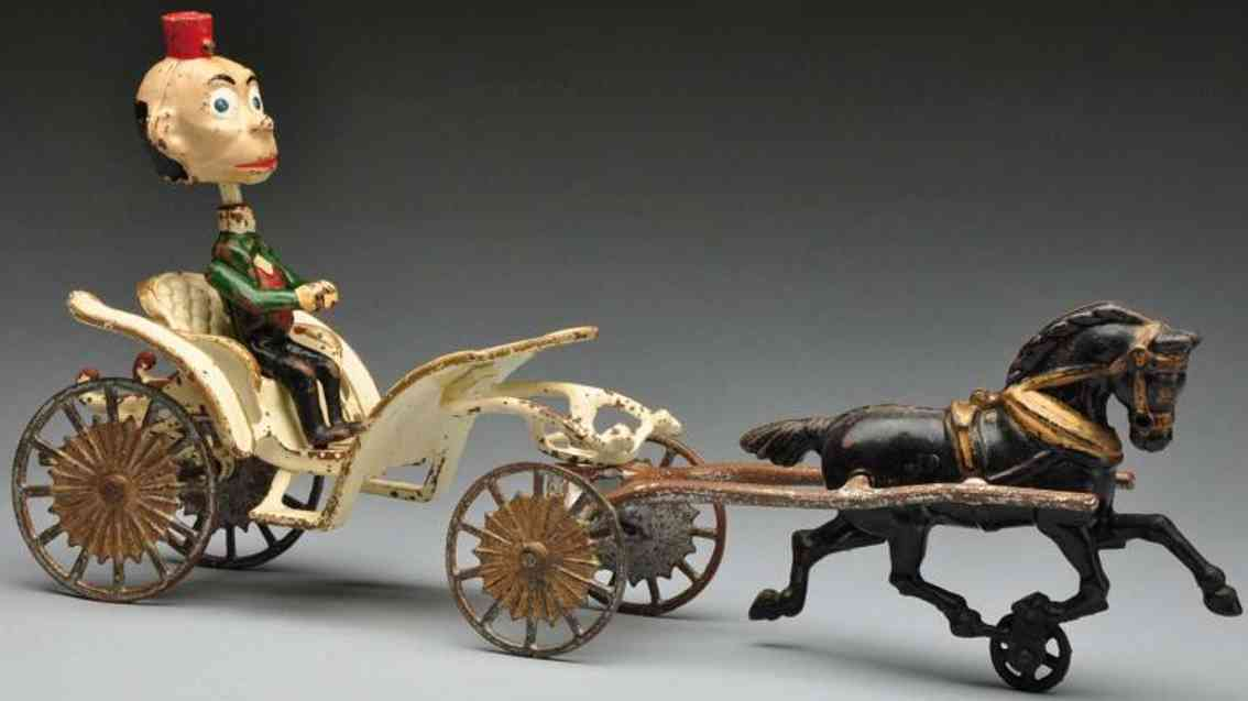hubley gusseisen phaeton kutsche pferd happy hooligan figur