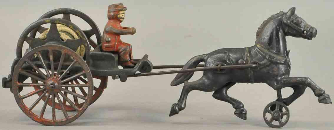 hubley spielzeug gusseisen kutsche mit schlauchtrommel ein pferd