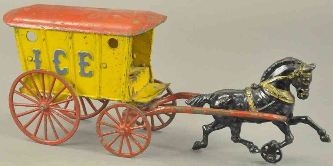 hubley Ice spielzeug gusseisen kutsche eiswagen pferd gelb rot schwarz