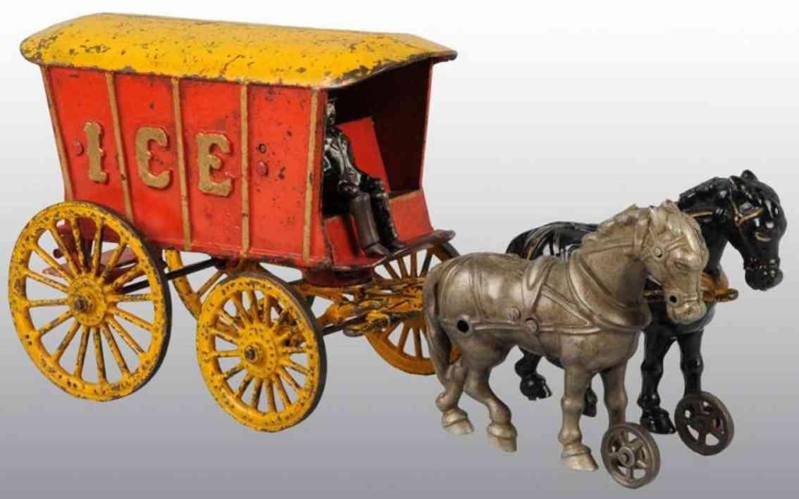hubley spielzeug gusseisen eiskutsche rot gelb  zwei pferde