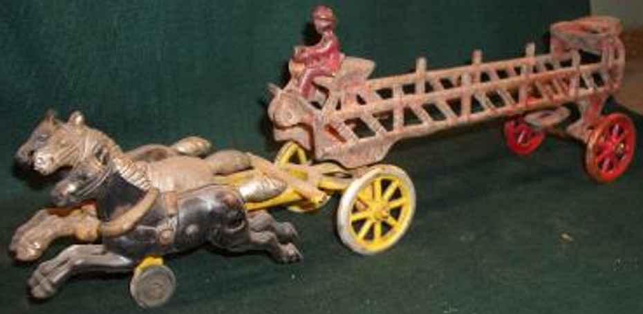 hubley gusseisen feuerwehrleiterwagen drei pferden