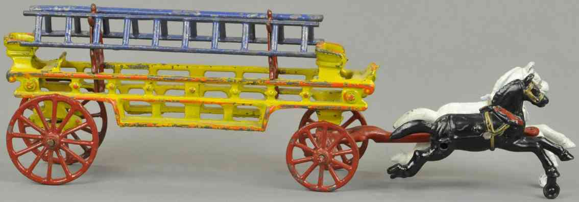 hubley cast iron toy ladder wagon two horses