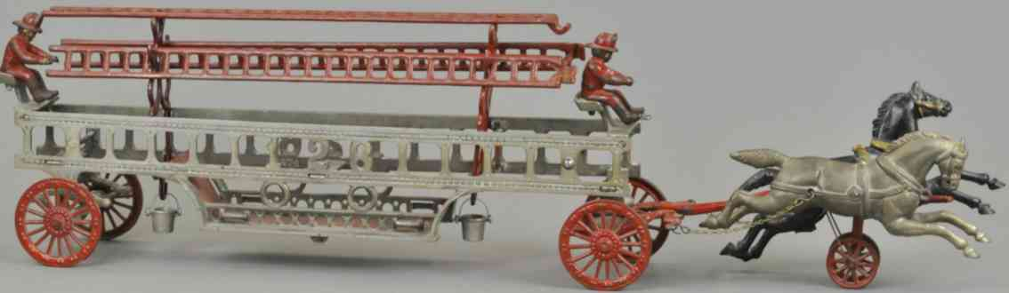 hubley cast iron toy fire ladder wagon 2 horses 2 drivers