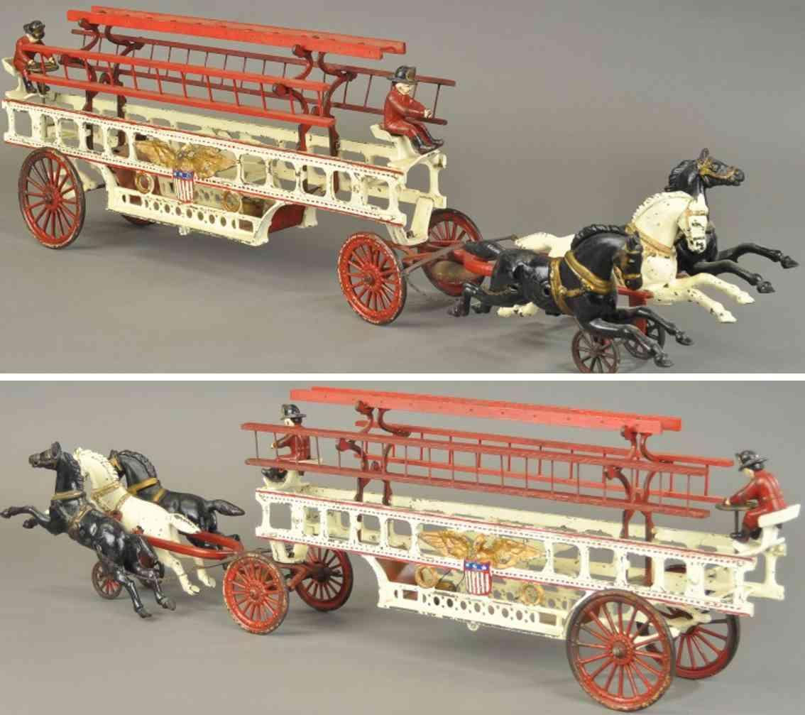 hubley Ladder 3 horses 30 spielzeug gusseisen feuerwehrleiterkutsche aus gusseisen, rahmen bemalt in weiß,