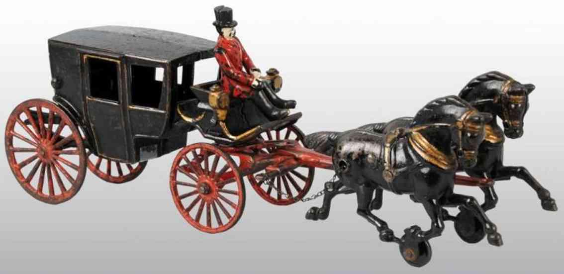 hubley spielzeug gusseisen landauer zwei pferde figur