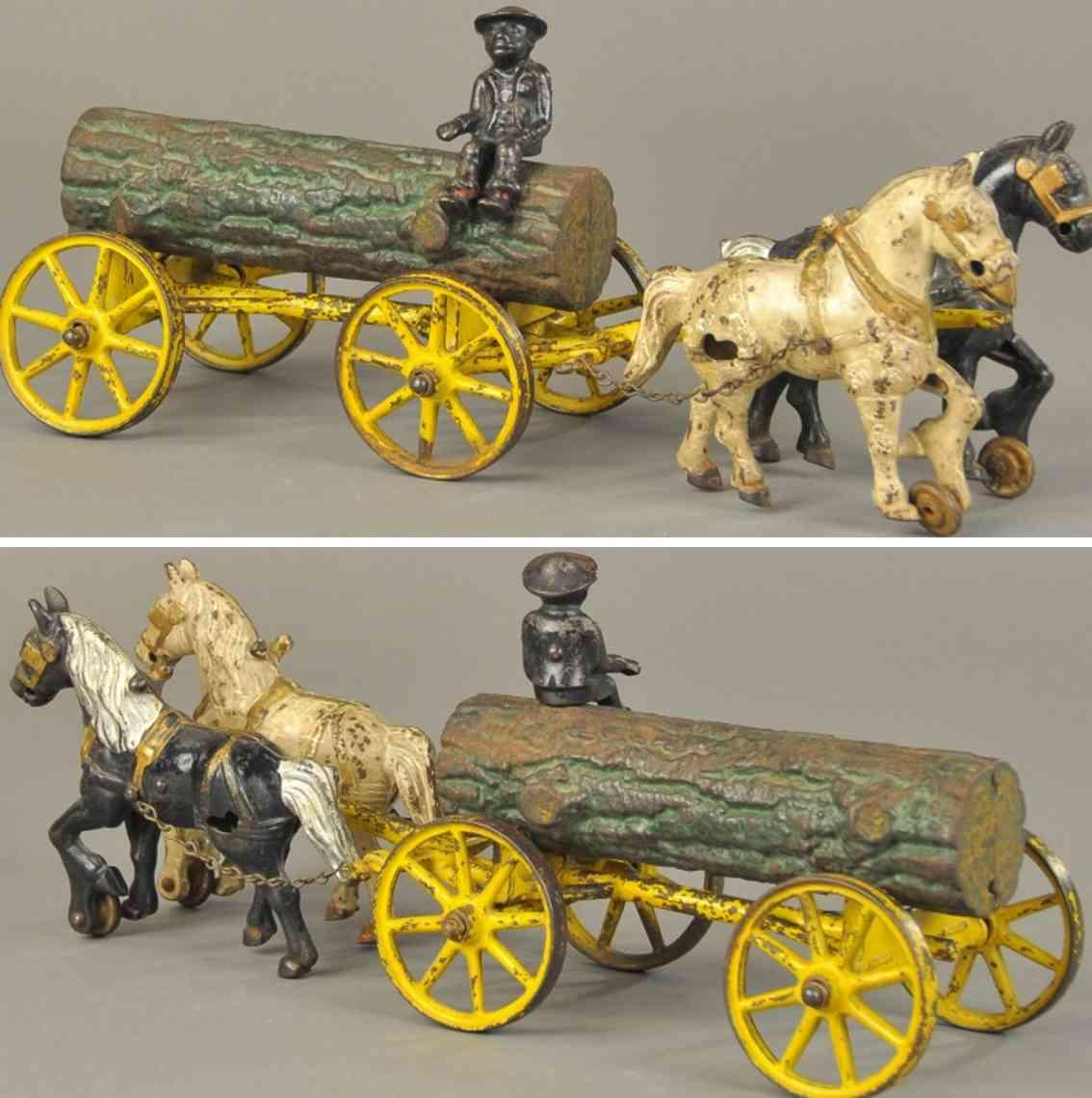 hubley log 2 horses 15 spielzeug gusseisen kutsche mit baum gezogen von zwei pferden, aus gusseisen, ei