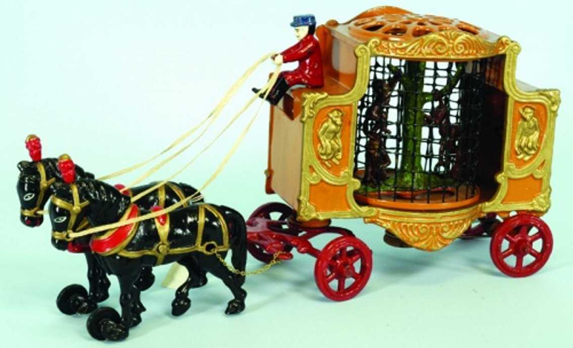 hubley spielzeug gusseisen zirkuskutschenwagen zwei pferde affe