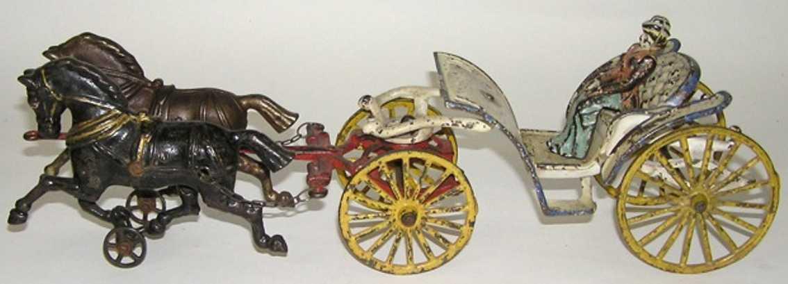 hubley spielzeug gusseisen kutsche mit zwei pferde frau