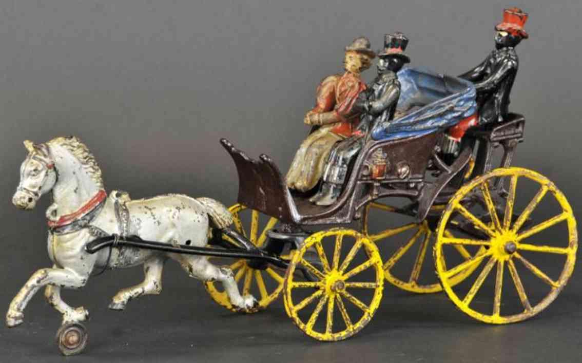 hubley spielzeug gusseisen phaeton kutsche ein pferd drei figuren