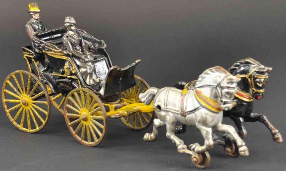 hubley spielzeug gusseisen phaeton kutsche zwei pferde
