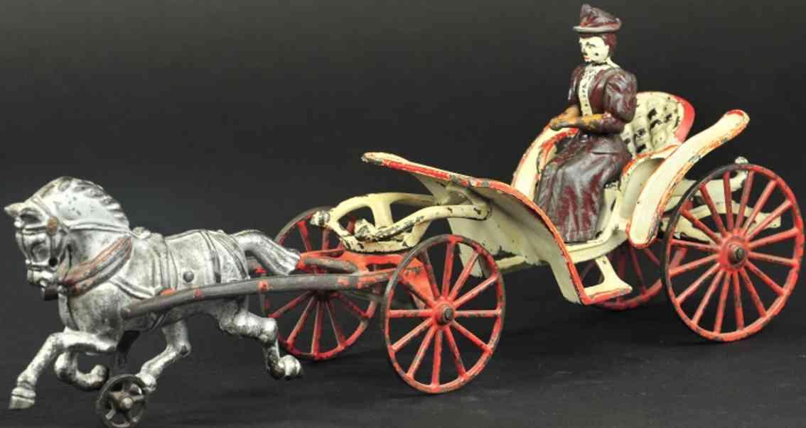hubley spielzeug gusseisen pheaton kutsche ein pferd silbern