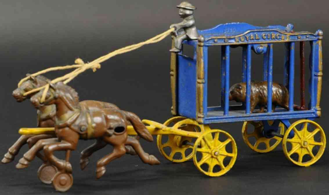 hubley gusseisen koenglicher zirkuskaefigwagen braunbaer zwei pferde