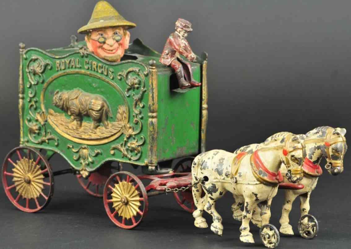 hubley spielzeug gusseisen koeniglicher zirkus bauernwagen zwei schimmel
