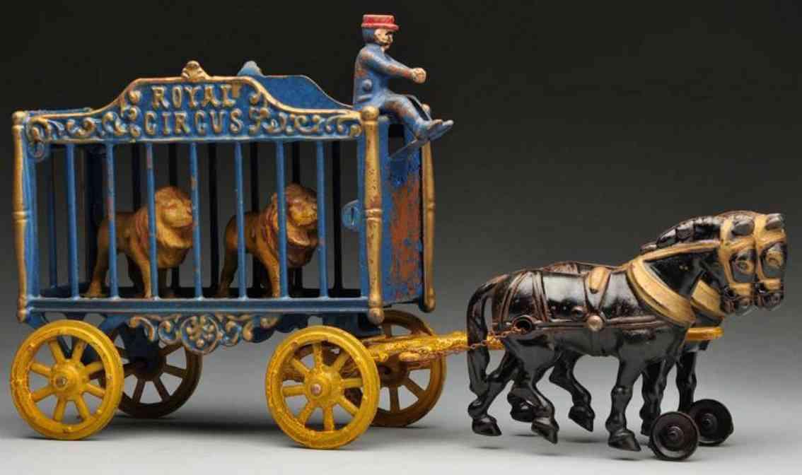 hubley koeniglicher zirkuskaefigwagen gusseisen zwei pferden loewen
