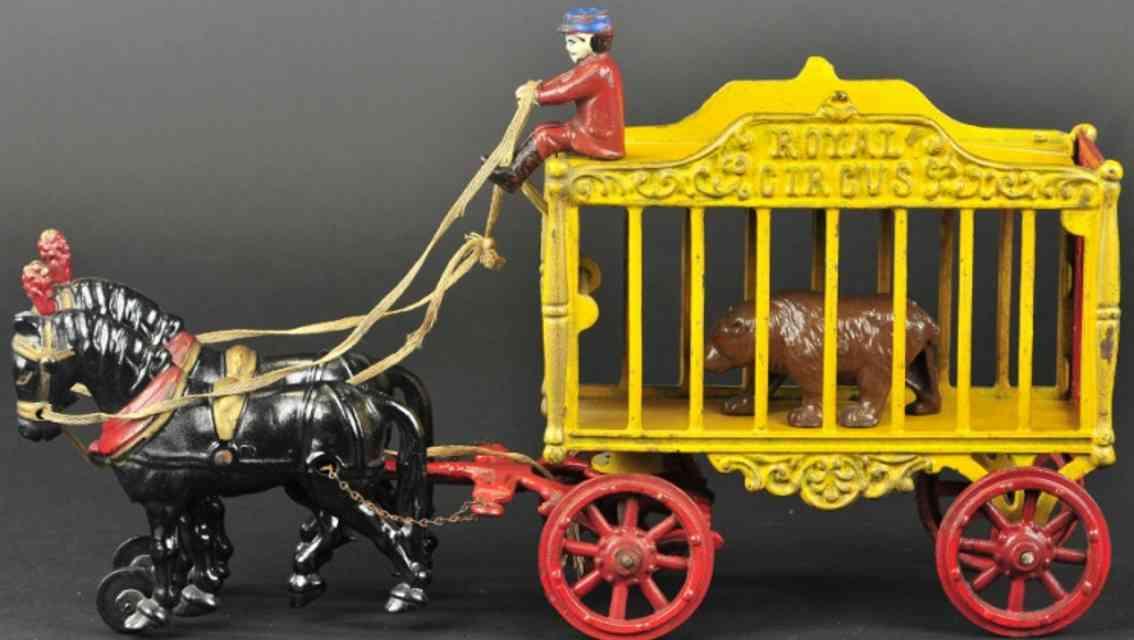 hubley spielzeug gusseisen koeniglicher zirkuswagen gelb brauner baer