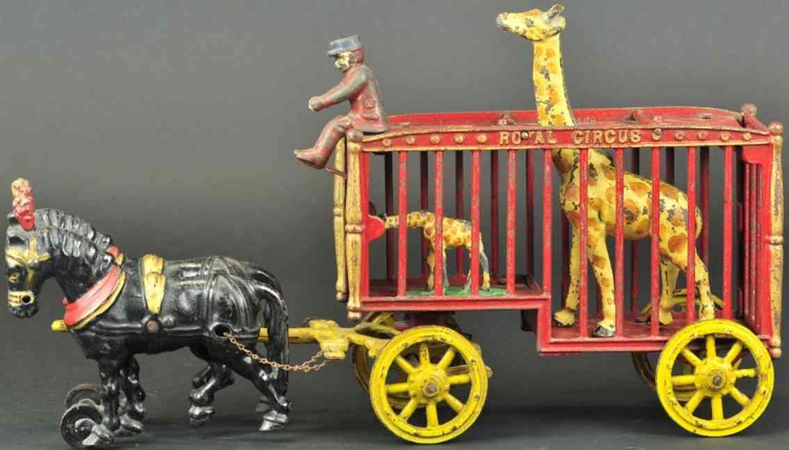 hubley spielzeug gusseisen zirkus kaefigwagen rot zwei giraffen