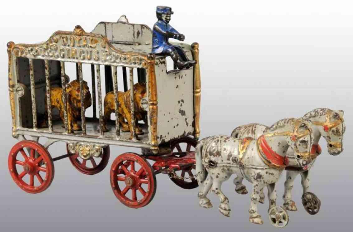 hubley zirkuskaefigwagen zwei loewen Kutscher zwei Pferde