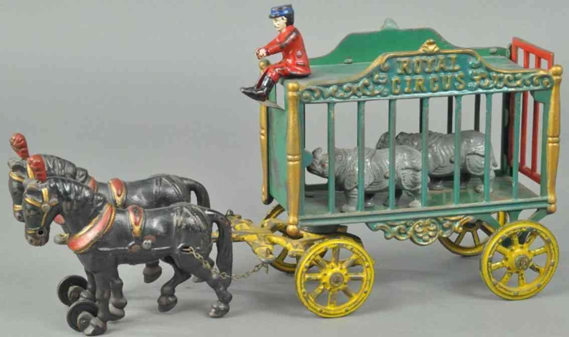 hubley gusseisen koeniglicher zirkuskaefigwagen gruen zwei pferde nashoerner