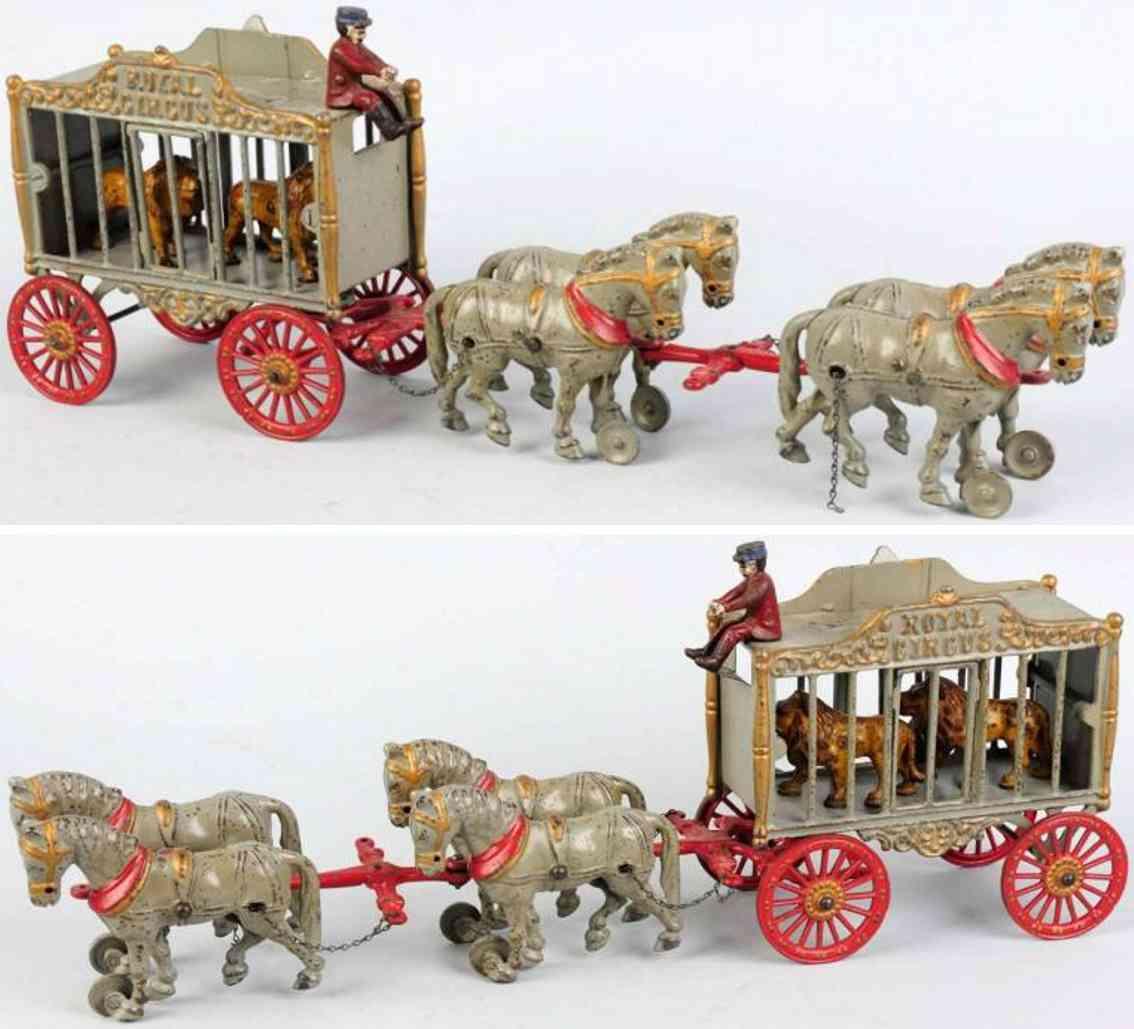 hubley spielzeug gusseisen zirkuskaefigwagenin grau vier pferd
